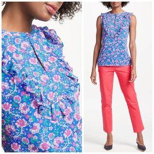 BODEN Elise Ruffle Bib Floral Print Tank Top US 10